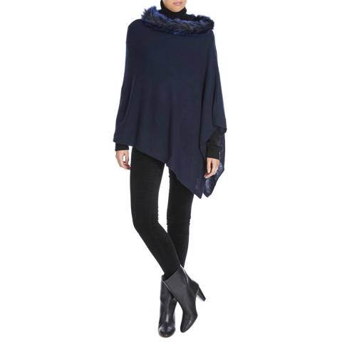 Laycuna London Navy Cashmere faux Fur Collar Poncho