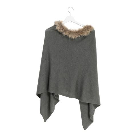Laycuna London Green faux Fur Collar Cashmere Poncho