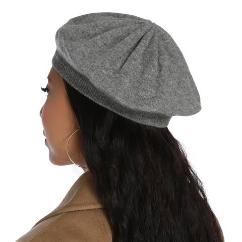 Laycuna London Grey Cashmere Beret Hat