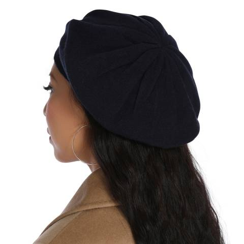Laycuna London Navy Cashmere Beret Hat