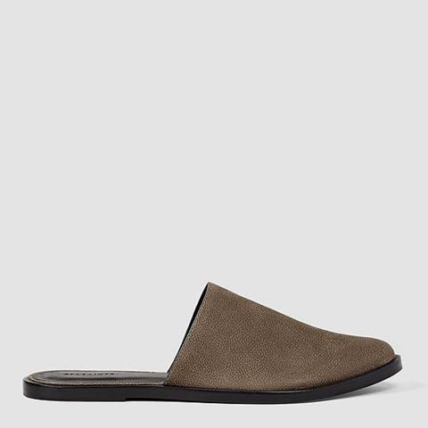 AllSaints Dark Khaki Green Leather Rick Slides