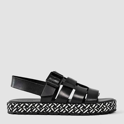 AllSaints Black/White Leather Botan Sandal