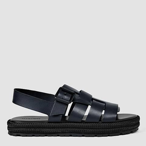 AllSaints Navy/Black Leather Botan Sandal