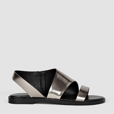 AllSaints Pewter Webber Leather Sandals
