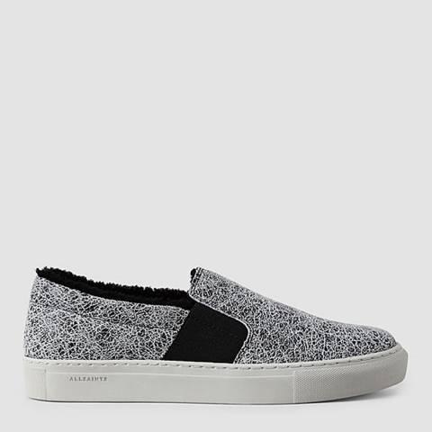 AllSaints Black/White Leather Slip On Shoe