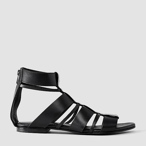 AllSaints Black Leather Phoenix Sandals