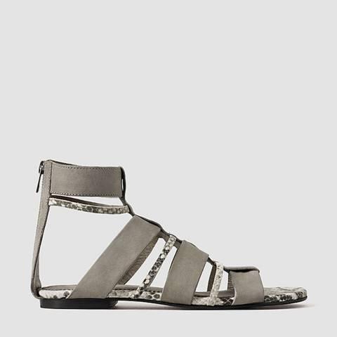 AllSaints Grey Leather Phoenix Sandals