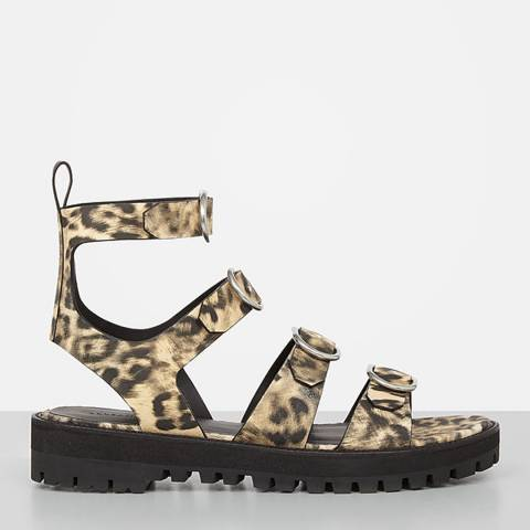 AllSaints Leopard Leather Raquel Sandals