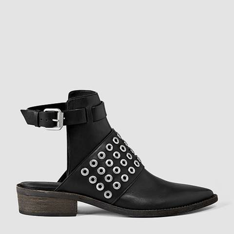 AllSaints Black Leather Yannis Open Back Ankle Boots