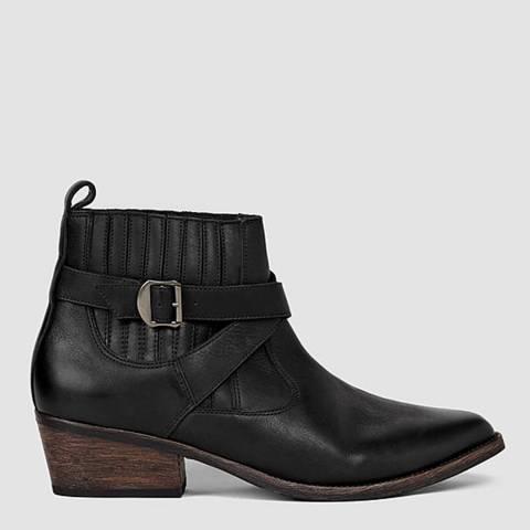 AllSaints Black Leather Quentin Ankle Boots