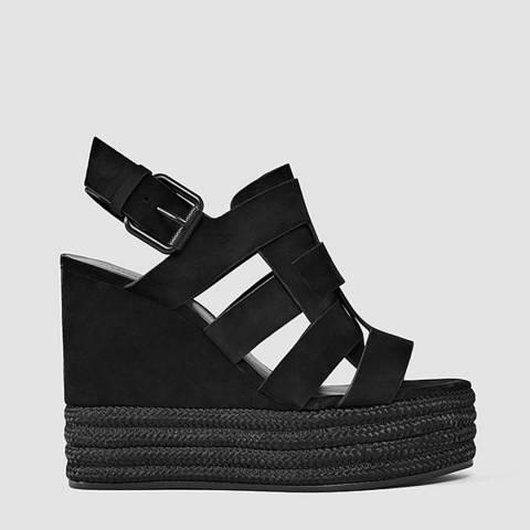 AllSaints Black Leather Marzee Espadrille Wedges