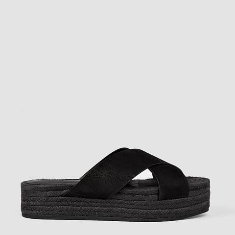 AllSaints Black Harlem Leather Espadrilles