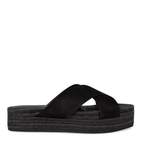 AllSaints Black Leather Harlem Espadrille Slides