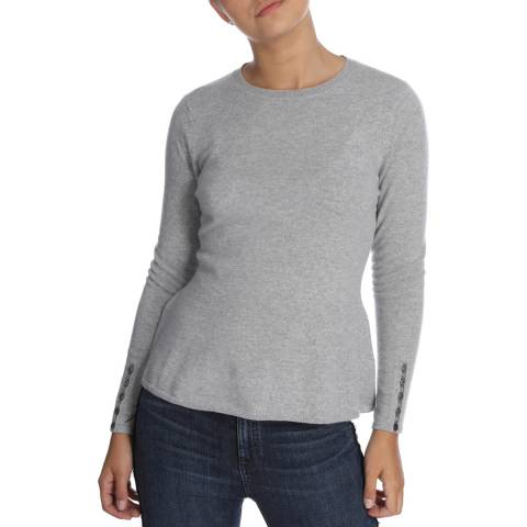 Cocoa Cashmere Grey Button Sleeve Detail Cashmere Jumper