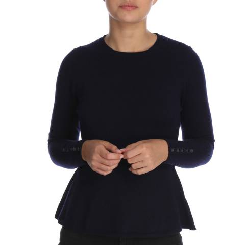 Cocoa Cashmere Navy Button Sleeve Detail Cashmere Jumper