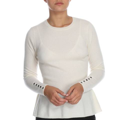Cocoa Cashmere White Button Sleeve Detail Cashmere Jumper