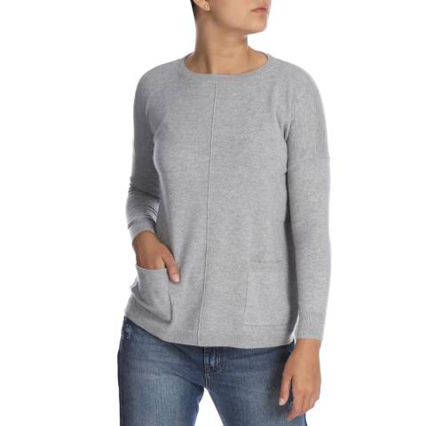 Cocoa Cashmere Grey Pocket Detail Cashmere Jumper