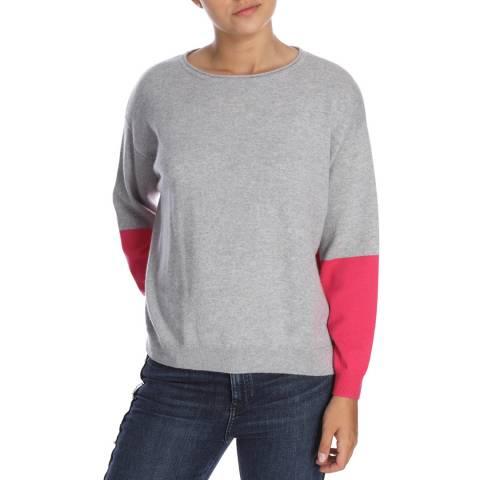 Cocoa Cashmere Grey/Fuschia Round Neck Contrast Cashmere Jumper