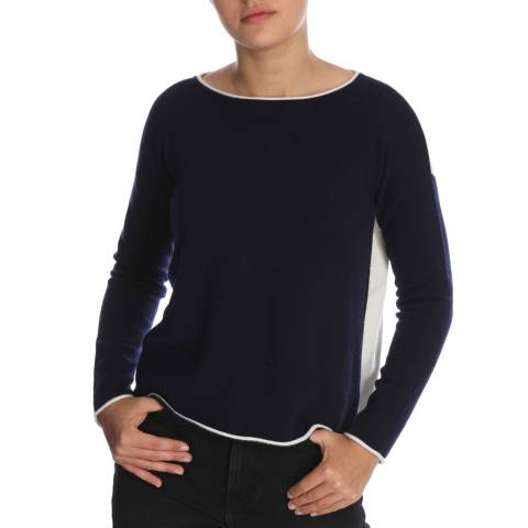 Cocoa Cashmere Navy/White Detail Sleeve Cashmere Jumper