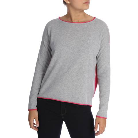 Cocoa Cashmere Grey/Pink  Long Sleeve Cashmere Jumper