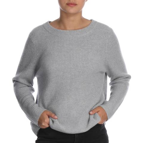 Cocoa Cashmere Grey Ribbed Round Neck Cahmere Jumper
