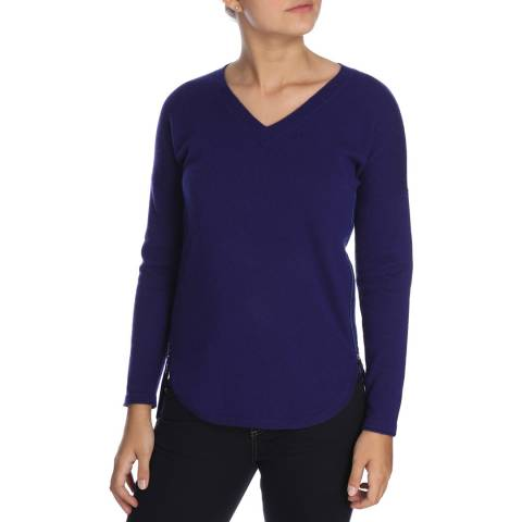 Cocoa Cashmere Fresh Navy V Neck Zip Detail Cashmere  Jumper
