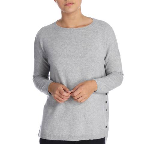 Cocoa Cashmere Grey Round Neck Button Detail Cashmere Jumper