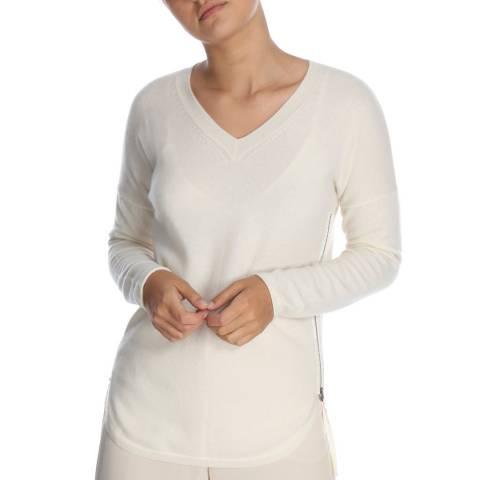 Cocoa Cashmere White V Neck Zip Detail Cashmere Jumper