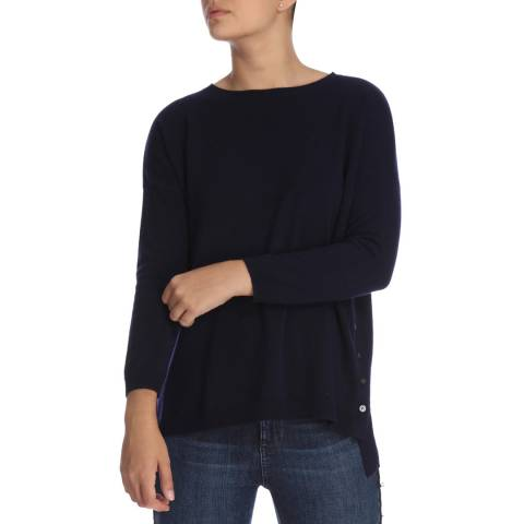 Cocoa Cashmere Navy Long Sleeve Button Detail Cashmere Jumper