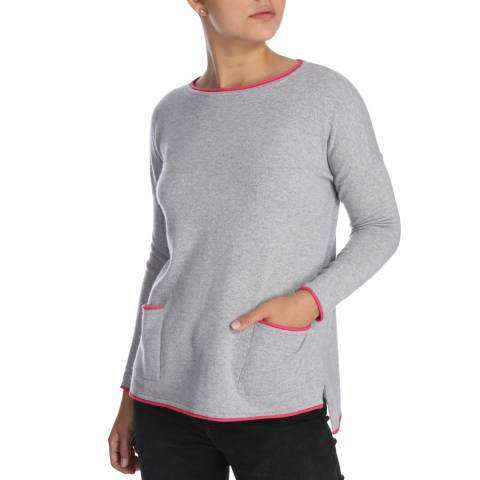 Cocoa Cashmere Grey/Pink Outline Detail Cashmere Jumper