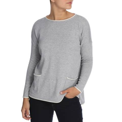 Cocoa Cashmere Grey/White Outline Detail Cashmere Jumper