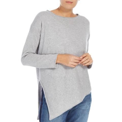 Cocoa Cashmere Angled Hem Grey Cashmere Jumper