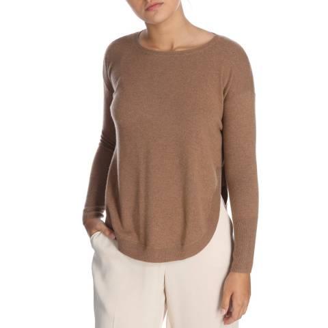 Cocoa Cashmere Brown Round Neck Side Split Cashmere Jumper