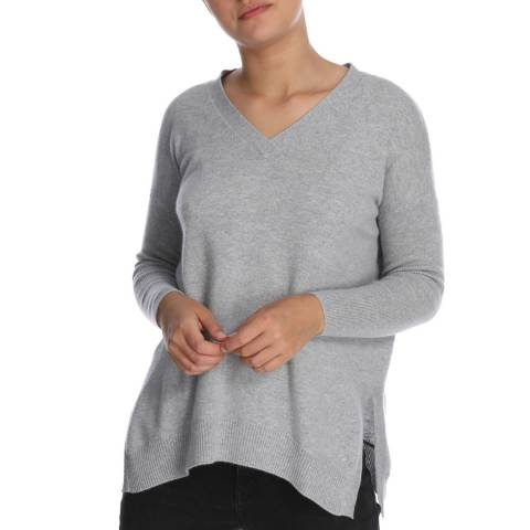 Cocoa Cashmere V Neck Split Side Cashmere Jumper