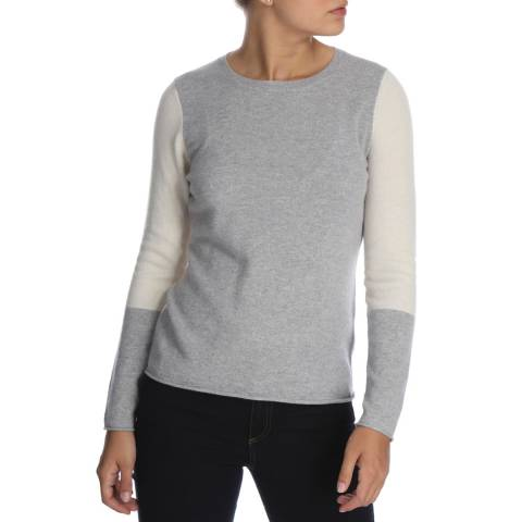 Cocoa Cashmere Fitted Crew Neck Colour Block Cashmere Jumper
