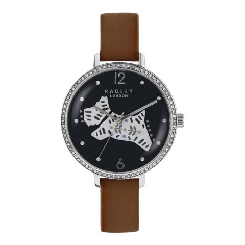 Radley Ladies' Brown/Black Folk Dog Leather Strap Watch
