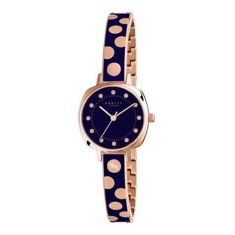 Radley Navy/Rose Gold Kennington Spot Half Bangle Watch