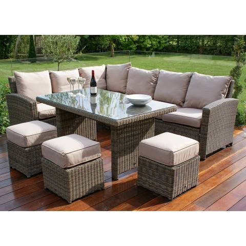 Maze Rattan Kingston Corner Sofa Dining Set, Brown