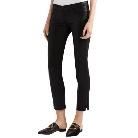 J Brand Coated Black Hipster Low Rise Stretch Jeans