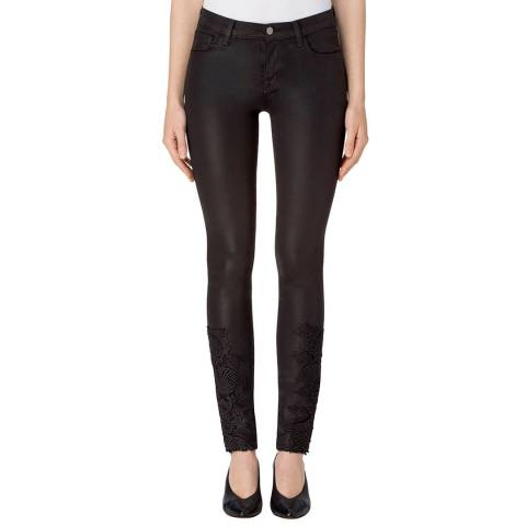 J Brand Coated Black Lace 811 Skinny Stretch Jeans