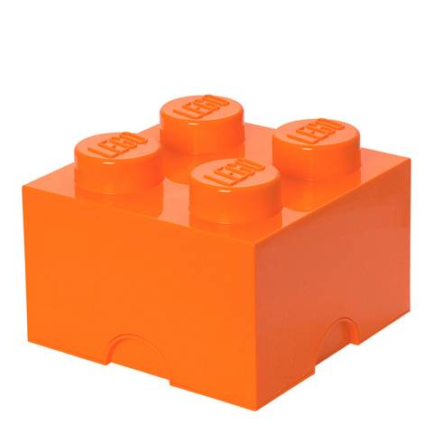 Lego Brick 4 Storage Box, Orange