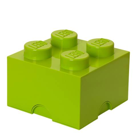 Lego Brick 4 Storage Box, Yellow Green