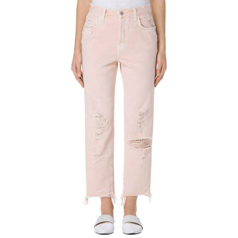 J Brand Coquette Pink Ivy High Rise Crop Straight Jeans