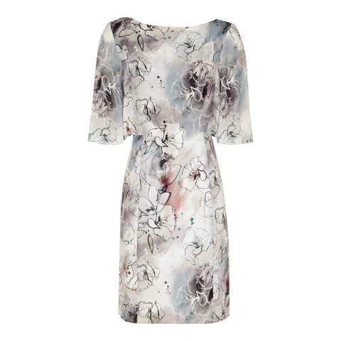 Reiss Grey/Multi Oriana Silk Dress