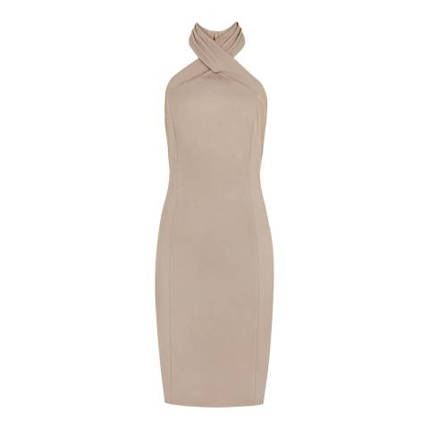 Reiss Tan Zaira Wrap Bodycon Dress