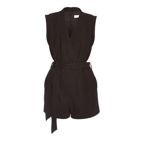 Reiss Black Hamley Wrap Jumpsuit
