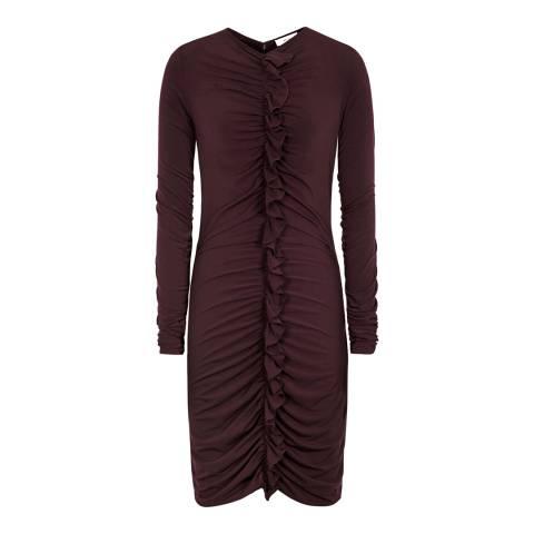 Reiss Bordeaux Harriet Ruffle Dress