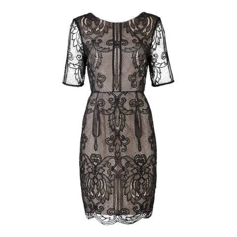 Reiss Black Zola Lace Fitted Dress
