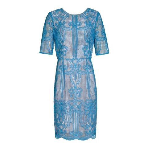 Reiss Blue Zola Lace Fitted Dress