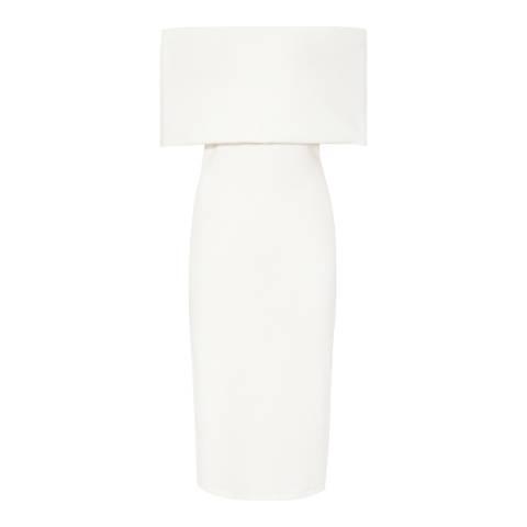 Reiss Off White Rafferty Shoulder Dress